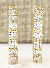 3.25CTW NATURAL DIAMOND HOOP EARRINGS 14K SOLID YELLOW GOLD