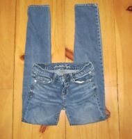 American Eagle Womens Jeans Skinny Stretch Size 00 Distressed Medium Blue Wash
