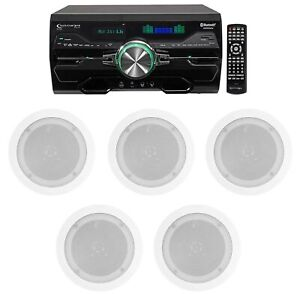 """DV4000 4000w Bluetooth Home Theater DVD Receiver+5) 5.25"""" White Ceiling Speakers"""