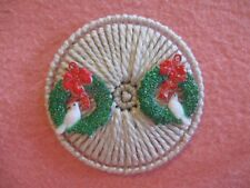 Circle with Wreath & Dove Christmas Magnet Plastic Canvas Handmade