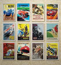 VINTAGE RETRO CAR POSTERS - Pau, Le Mans, Spa, Nurburgring, Albi, Monaco, Milan