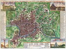 MAP ANTIQUE CITY PLAN ROME ITALY JOHN SENEX ART PRINT POSTER BB8161