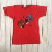 70s 80s Vintage Bonaire Fish Red Short Sleeve T-shirt Size Large Cotton Poly