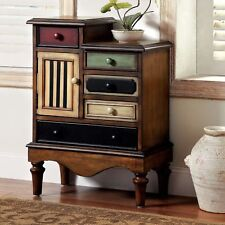 Rustic Vintage Style Wood 5 Drawer and Cabinet Storage Chest - MULTI-COLORED