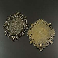 Alloy Ellipse Lace Shaped 60*49mm Cameo Base Tray Necklace Pendant Jewelry 6PCS