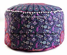 Indian Floor Pouf Ottoman Cover pouffe pouffes Foot Stool Mandala Round Pillow