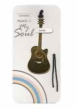 Polished gold coloured metal guitar bookmark with black tassel cord free postage