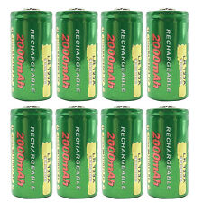 8PCS 123A 16340 2000mAh 3.6V Lithium Li-ion Rechargeable Battery Camera Torch