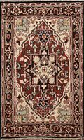Geometric Indo Heriz Oriental Hand-knotted Area Rug Medallion Kitchen Carpet 4x6