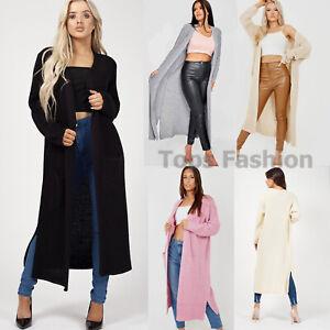Ladies Womens Chunky Knit Long Cardigan Grandad Boyfriend Kimono Plus Size Tops