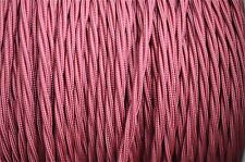 1 meter burgundy 3 core hanging light flex wire braided twisted MADE IN UK B6