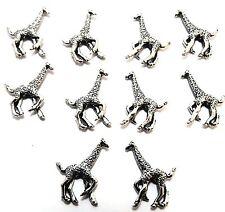 Set of 10 Pewter Giraffe Beads - 0183