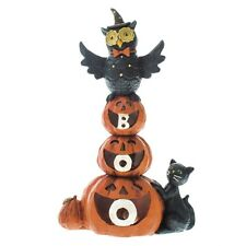 Heaven Sends Halloween Resin Owl Standing On Pumpkin With LED Light Boo! NEW