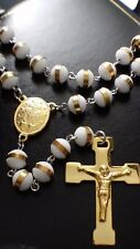 Statement Steel Rosary White Bead Ball Gold Cross Jesus Crucifix Necklace 26""