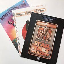 Piano Sheet Music Lot Star Wars Trilogy James Bond Theme Willy Wonkas Welcome