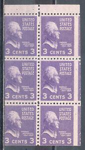 US Stamp (L1453) Scott# 807a, MISCUT, Mint NH OG, Booklet Pane