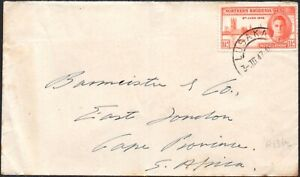 Northern Rhodesia 1946 1½d Victory perf.13½, SG.46a, used on cover