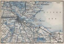 AMSTERDAM environs. Utrecht Leiden haarlem Zaandam. Netherlands kaart 1910 map
