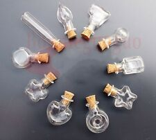 10 Stlye Mini Glass Bottles w/ Corks Miniature Glass Bottle  Empty Sample Jars