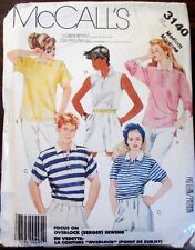 McCall's  sewing pattern no.6940  Unisex long sleeve shirt size S.M L