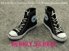 "1/6 Converse All Star Style Sneakers BLACK For 12"" Female Figures SHIP FROM USA"