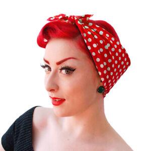 Red Polka Dot Bandana, Rosie the Riveter Scarf, Retro Rockabilly Head Scarf