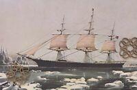 "VTG 1952 Currier & Ives Art Print Antique Repro Clipper Ship 11.75x15"" * VARIETY"