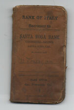 1919-1923 Bankbook from the Bank of Italy Successor to the Bank of Santa Rosa CA