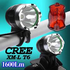 Nuovo CREE XM-L T6 LED 1600LM HeadLight Bike Luce bicicletta + Fanale posterior