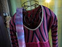 lot=T36-38 robe femme  gersey  parme + écharpe assortie en pure soie a saisir!!!