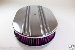 12 inch Polished Aluminum Oval Air Cleaner Half Finned nostalgia chevy ford wash