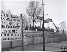 Berlin Wall Checkpoint Charlie Nov 20 1961 US Soviet Tensions, 5x4 inch Reprint