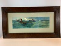 Vintage Watercolor Seascape Fishermen at Sea Manner of Edward Moran Oak Frame
