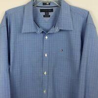 Tommy Hilfiger men's long sleeve dress shirt, XXL, Lt blue w/white pin stripes
