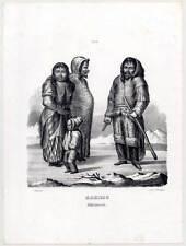 Eskimos-Inuit-Eskimaux-Eskimo-Rassen-Ethnologie - Lithographie-Honegger um 1840