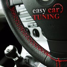FOR FORD MONDEO MK4 BLACK PERFORATED GENUINE LEATHER STEERING WHEEL COVER RED