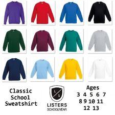 Boys Girls Childrens School Sweatshirt Sweater Jumper Top Fleece Crew Neck