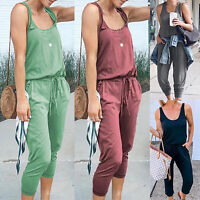 Women Sleeveless Casual Jumpsuit Drawstring Lace Sport Playsuits Trousers Romper