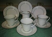 10PC Noritake 2883 Misty Lot Plates Cups Saucers Creamer Gray White Floral EXC