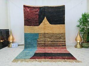 "Vintage Moroccan Boujaad Handmade Rug 5'7""x8'9"" Berber Abstract Black Blue Rug"