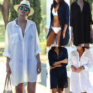 Ladies Beach Swimwear Bikini Cover Up Blouse Dress Holiday Shirt Bathing Suit