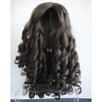 PERRUQUE T16 (49.5 cm) 100% cheveux naturels brun pour POUPEE ANCIENNE DOLL WIGS