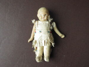 Antique Bisque Porcelain Miniature Doll, Articulated Arms, Dressed As  US Indian