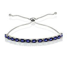 Sterlingsilber Künstlicher Blauer Saphir Oval Verstellbares Armband