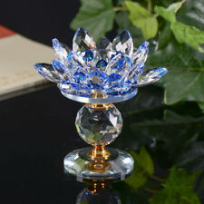 Crystal Glass Lotus Flower Candle Tea Light Holder Buddhist Candlestick decor