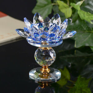 Crystal Glass Lotus Flower Candle Tea Light Holder Buddhist Candlestick decor