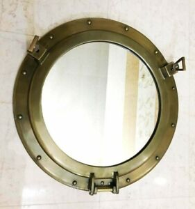 "20"" Mirror Ship Round  Antique Nautical Canal Boat Porthole-Wall Hanging Decor"