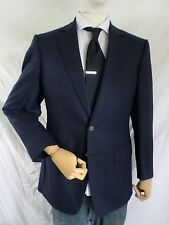 CHESTER BARRIE excellent mint navy blue hopsack dual vent blazer jacket 48 38R
