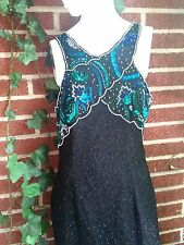 Silk Beaded Sequined Dance Competition Gown Pagent Lawrence Kazar Womens Large