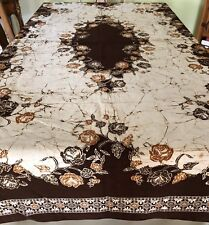 Tablecloth/Wall Hanging Block Print Browns/ Golds/ Beige & GORGEOUS !100% Cotton